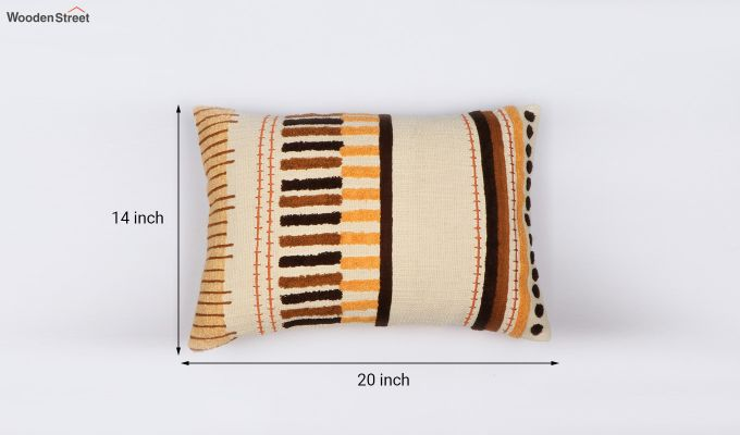 Umber Stripes Embroidered Cushion Cover-3