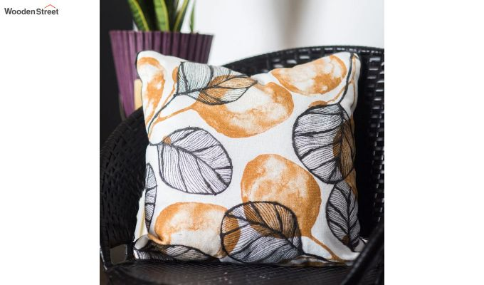 Yellow and Grey Morocco Leaf Pattern Cushion Cover-1
