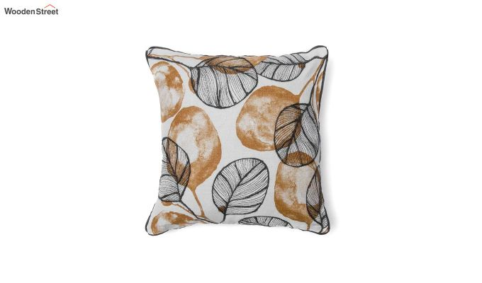 Yellow and Grey Morocco Leaf Pattern Cushion Cover-2