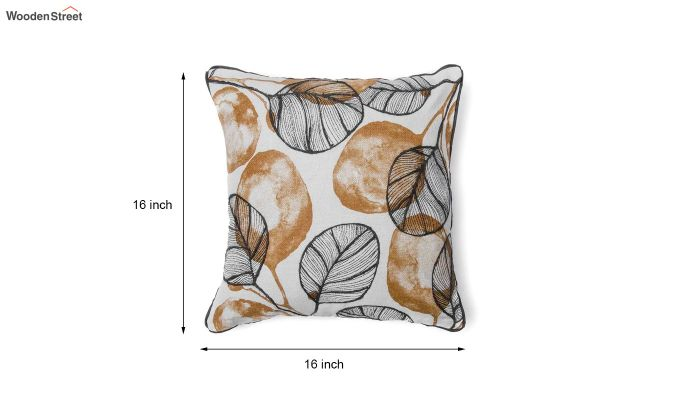 Yellow and Grey Morocco Leaf Pattern Cushion Cover-5