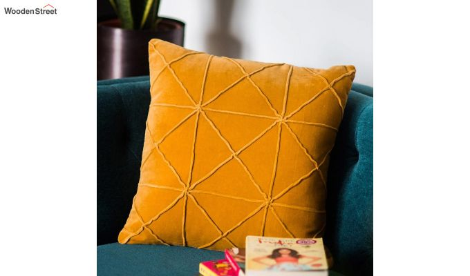 Yellow Cotton Morocco Bold Pattern Cushion Cover-1