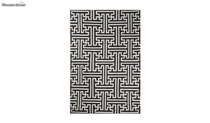 Black and White Geometric Hand Tufted Wool Carpet - 8 x 5 Feet-2