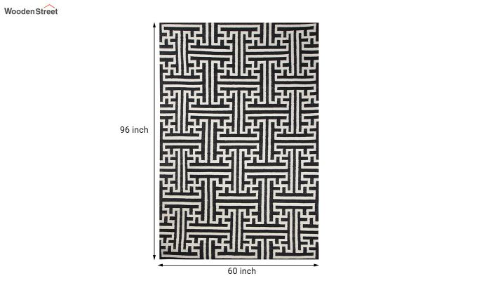 Black and White Geometric Hand Tufted Wool Carpet - 8 x 5 Feet-5