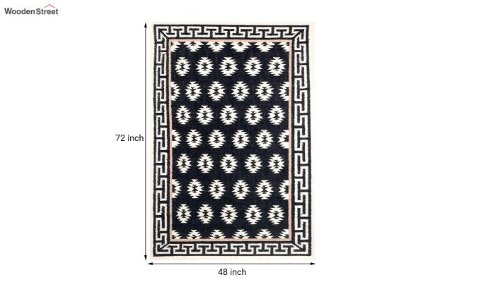Black and White Aztec Hand Woven Kilim Wool Dhurrie - 8 x 5 Feet-5