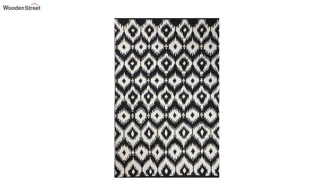Black and White Ikat Hand Woven Kilim Pattern Wool Dhurrie - 8 x 5 Feet-2