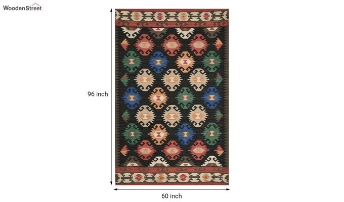 Black Aztec Hand Woven Kilim Pattern Wool Dhurrie - 8 x 5 Feet-4