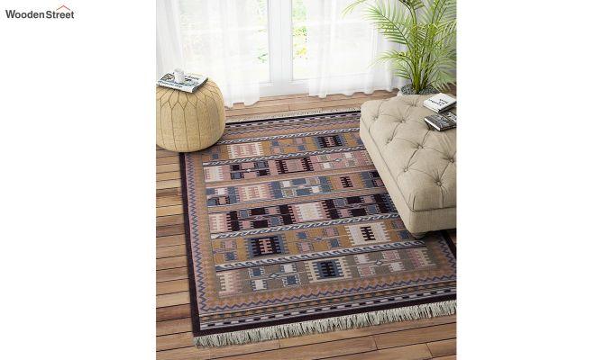 Blue Hand Woven Kilim Wool Floor Mat - 6 x 4 Feet-1
