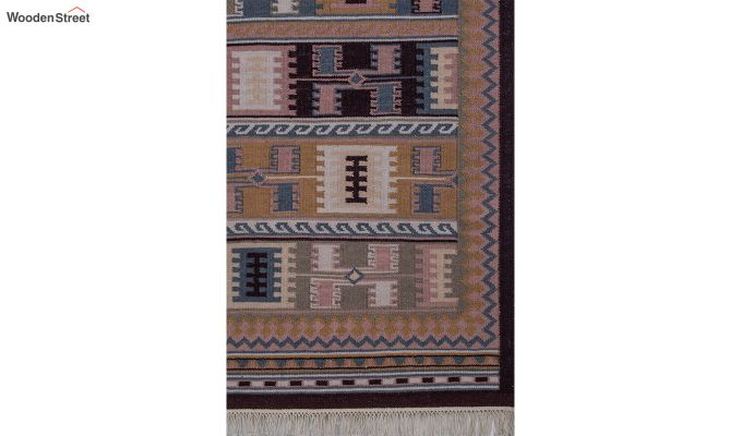 Blue Hand Woven Kilim Wool Dhurrie - 6 x 4 Feet-3