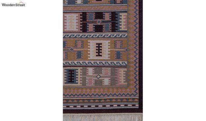 Blue Hand Woven Kilim Wool Floor Mat - 6 x 4 Feet-3