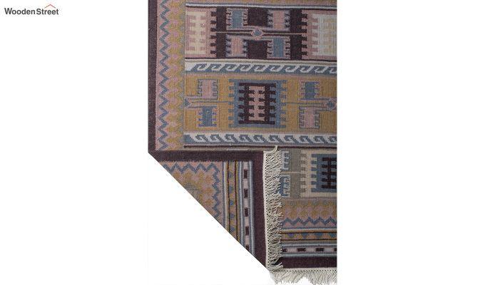 Blue Hand Woven Kilim Wool Dhurrie - 6 x 4 Feet-4