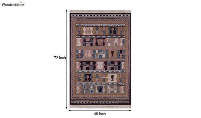Blue Hand Woven Kilim Wool Dhurrie - 6 x 4 Feet-5