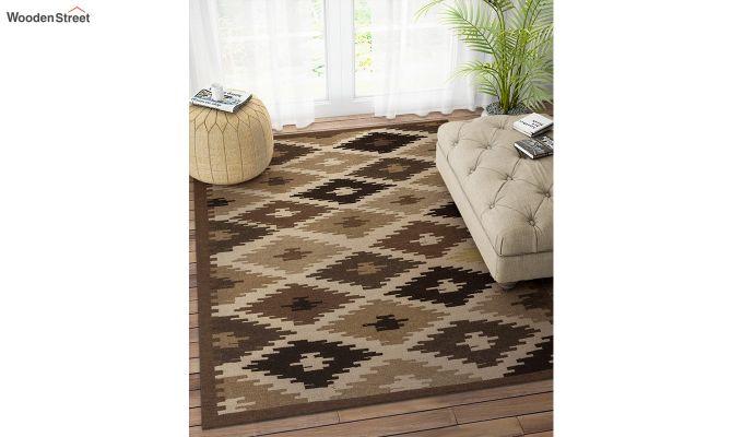 Brown Aztec Hand Woven Kilim Wool Dhurrie - 6 x 4 Feet-1
