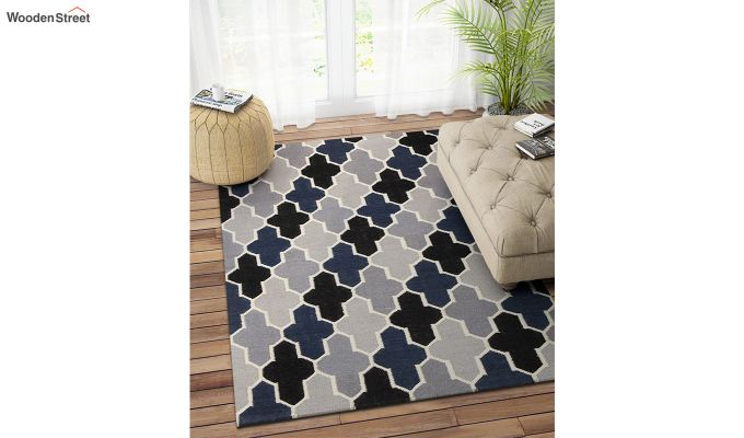 Grey and Blue Moroccan Hand Woven Wool Dhurrie - 8 x 5 Feet-1