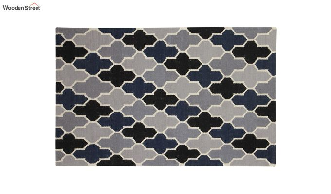 Grey and Blue Moroccan Hand Woven Wool Dhurrie - 8 x 5 Feet-2