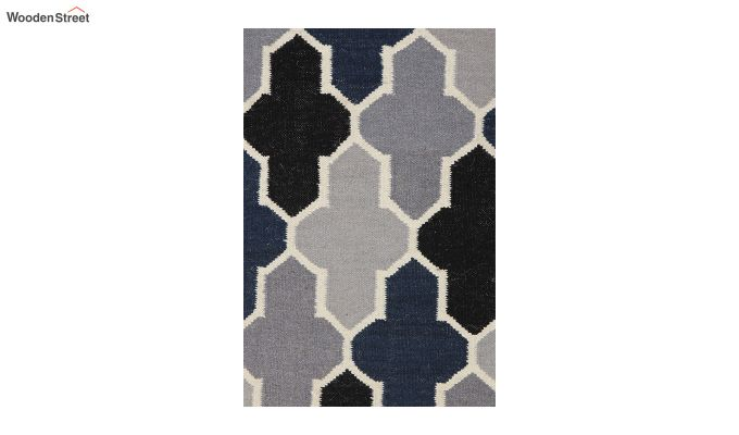 Grey and Blue Moroccan Hand Woven Wool Dhurrie - 8 x 5 Feet-3