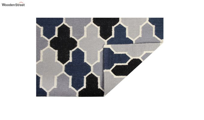 Grey and Blue Moroccan Hand Woven Wool Dhurrie - 8 x 5 Feet-4