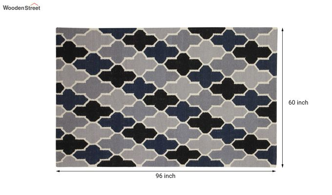 Grey and Blue Moroccan Hand Woven Wool Dhurrie - 8 x 5 Feet-5