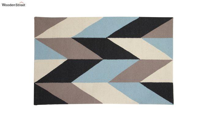 Grey Geometric Hand Woven Dhurrie - 6 x 4 Feet-2