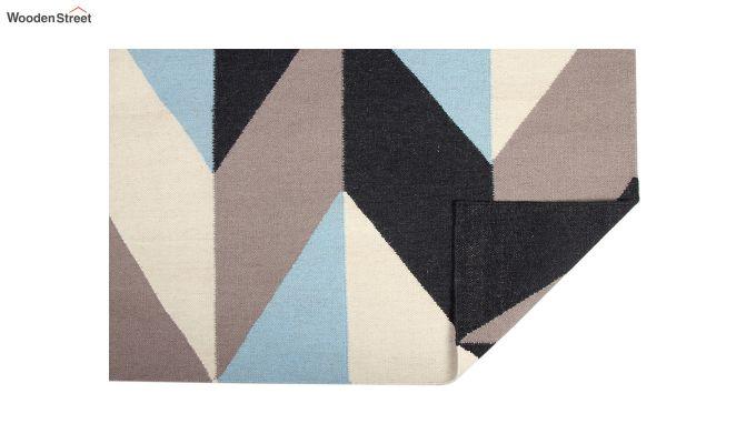 Grey Geometric Hand Woven Dhurrie - 6 x 4 Feet-3