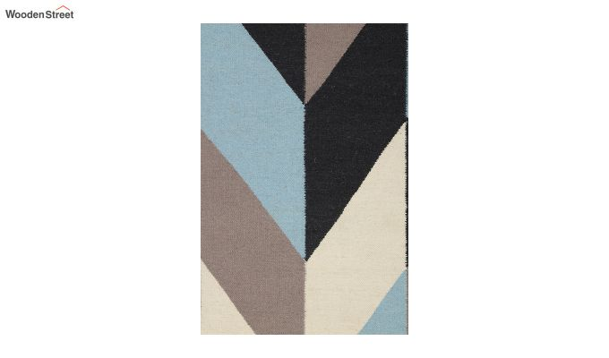 Grey Geometric Hand Woven Dhurrie - 6 x 4 Feet-4