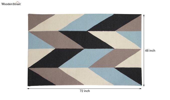 Grey Geometric Hand Woven Dhurrie - 6 x 4 Feet-5