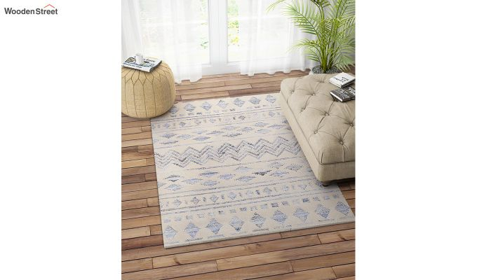 Ivory Denim Aztec Hand Woven Kilim Pattern Wool Floor Mat - 6 x 4 Feet-1