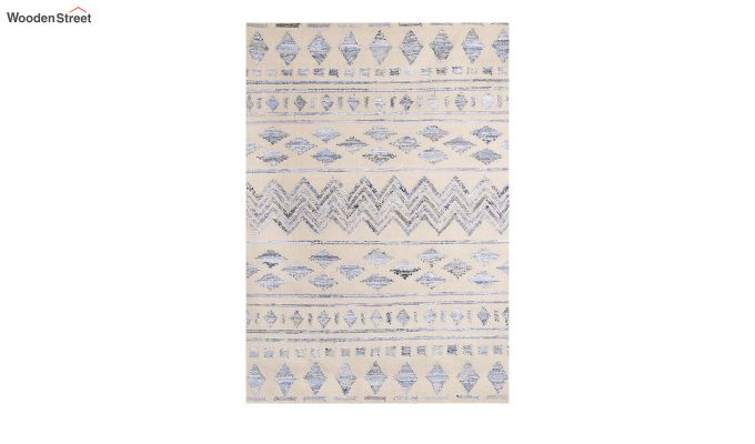 Ivory Denim Aztec Hand Woven Kilim Pattern Wool Floor Mat - 6 x 4 Feet-2