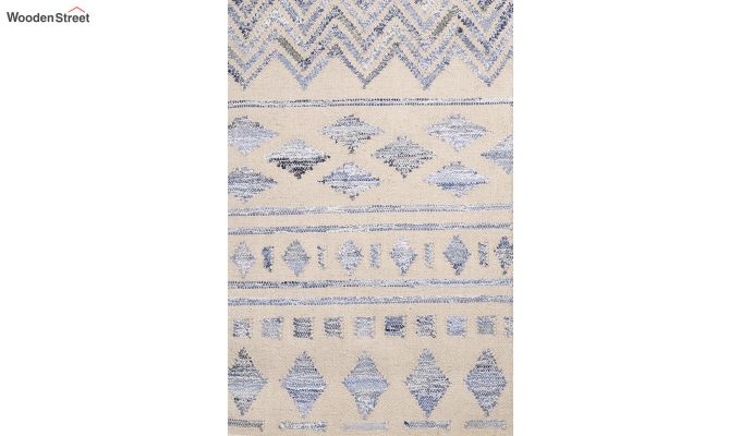 Ivory Denim Aztec Hand Woven Kilim Pattern Wool Floor Mat - 6 x 4 Feet-3