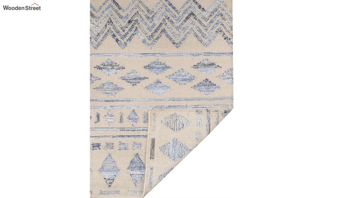 Ivory Denim Aztec Hand Woven Kilim Pattern Wool Floor Mat - 6 x 4 Feet-4