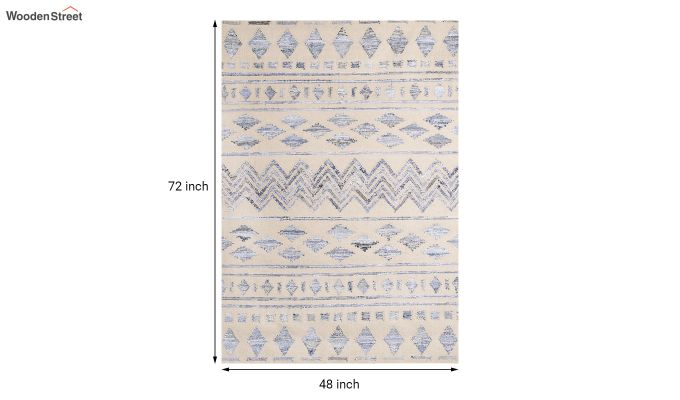 Ivory Denim Aztec Hand Woven Kilim Pattern Wool Floor Mat - 6 x 4 Feet-5