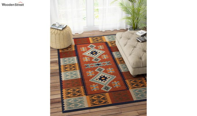 Rust Hand Woven Kilim Pattern Wool Dhurrie - 6 x 4 Feet-1