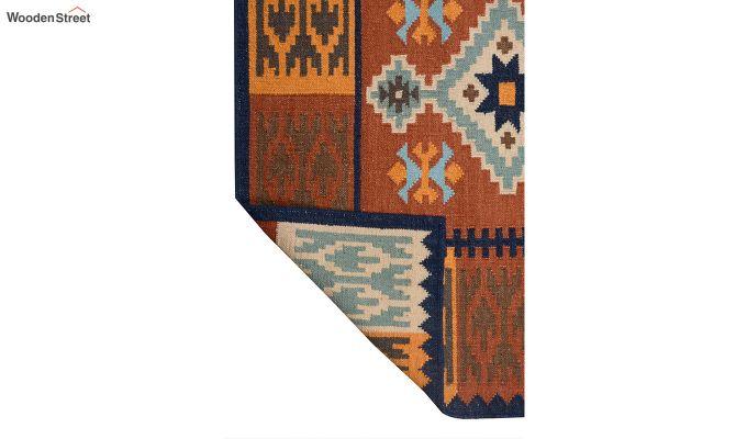 Rust Hand Woven Kilim Pattern Wool Dhurrie - 6 x 4 Feet-4