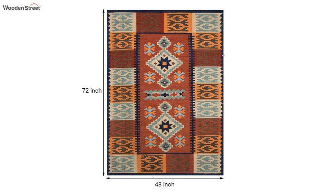 Rust Hand Woven Kilim Pattern Wool Dhurrie - 6 x 4 Feet-5
