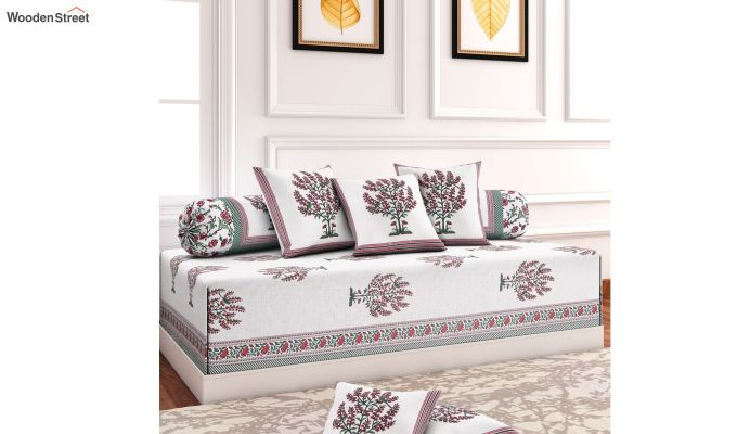 White and Blue Screen Print Floral Jaipuri Diwan Set - Set of 8-1