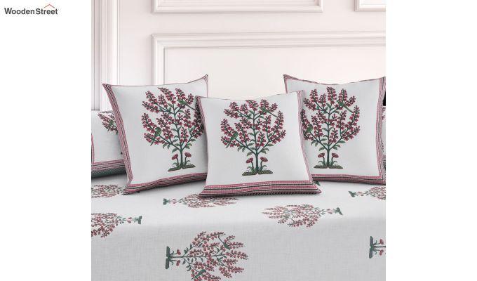 White and Blue Screen Print Floral Jaipuri Diwan Set - Set of 8-2