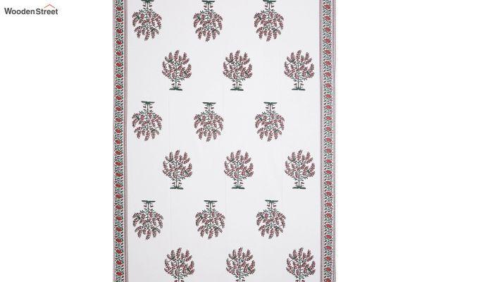 White and Blue Screen Print Floral Jaipuri Diwan Set - Set of 8-3