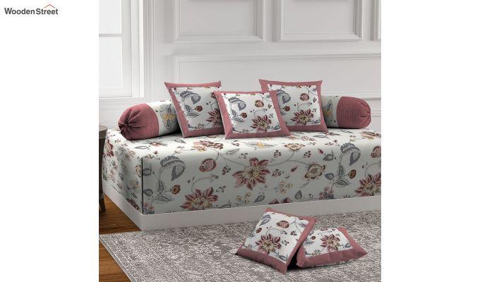 White and Pink Screen Print Floral Jaipuri Diwan Set - Set of 8-1