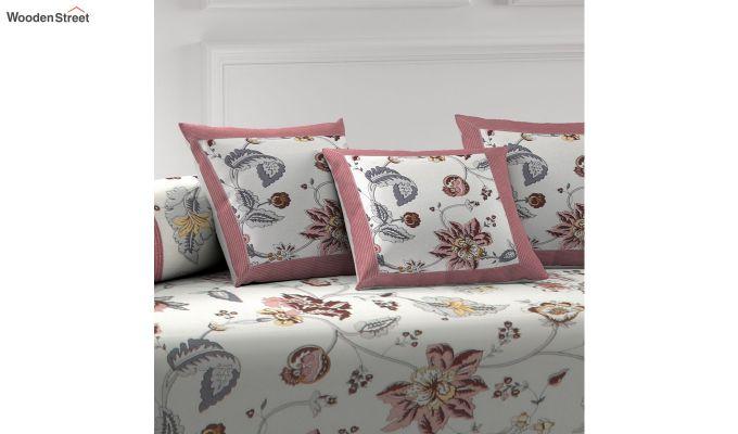 White and Pink Screen Print Floral Jaipuri Diwan Set - Set of 8-2