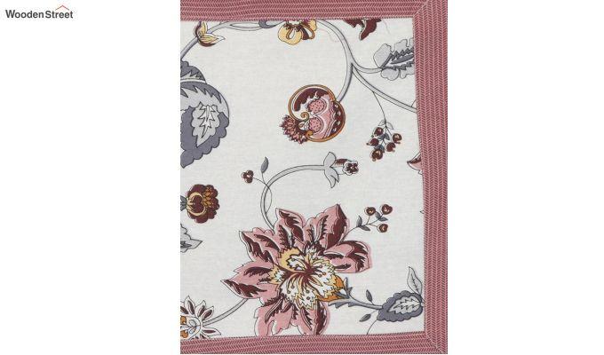 White and Pink Screen Print Floral Jaipuri Diwan Set - Set of 8-3