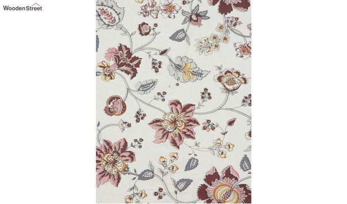 White and Pink Screen Print Floral Jaipuri Diwan Set - Set of 8-4