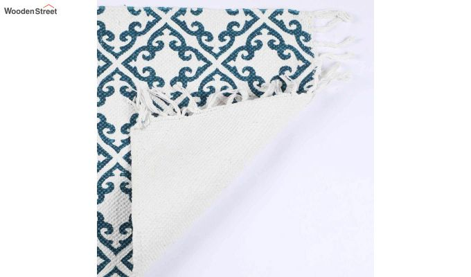 "Blue Cotton Anti Skid Door Mat (24"" x 16"")-4"