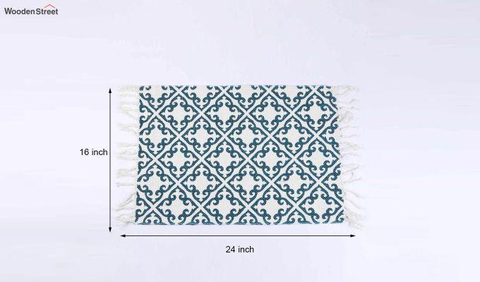 "Blue Cotton Anti Skid Door Mat (24"" x 16"")-5"