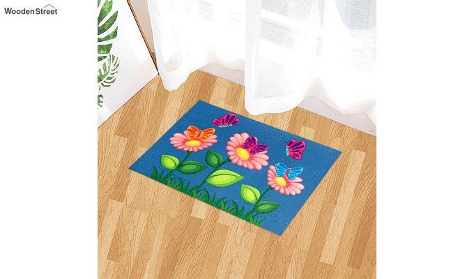 """Blue Floral 3D Printed Nylon Door Mat (23"""" x 15"""")-1"""