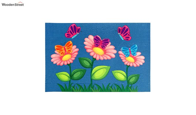 """Blue Floral 3D Printed Nylon Door Mat (23"""" x 15"""")-2"""