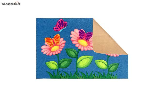 """Blue Floral 3D Printed Nylon Door Mat (23"""" x 15"""")-3"""
