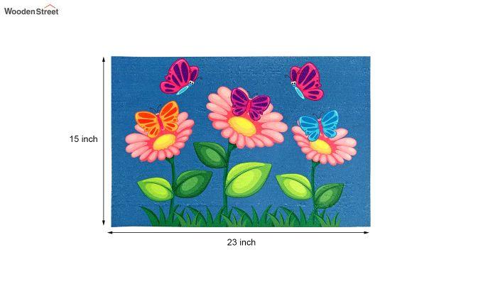 """Blue Floral 3D Printed Nylon Door Mat (23"""" x 15"""")-4"""