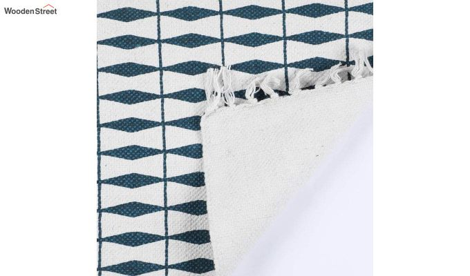 "Blue Geometric Pattern Cotton Anti Skid Door Mat (24"" x 16"")-4"