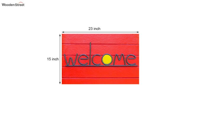 "Red 3D Printed Anti Skid Nylon Floor Mat (23"" x 15"")-5"