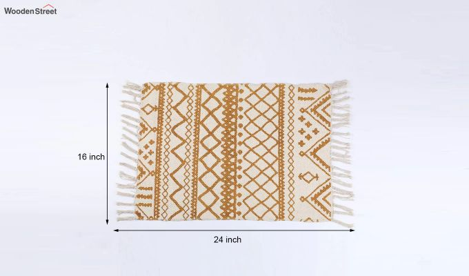 "Yellow Cotton Anti Skid Door Mat (24"" x 16"")-5"