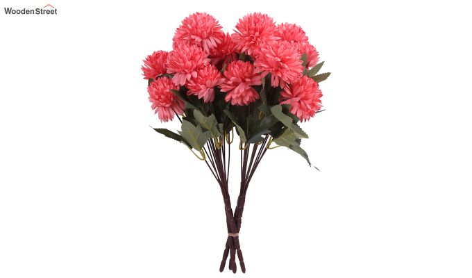 Peach Chrysanthus Flower Bunch With Pot (Set Of 4)-2